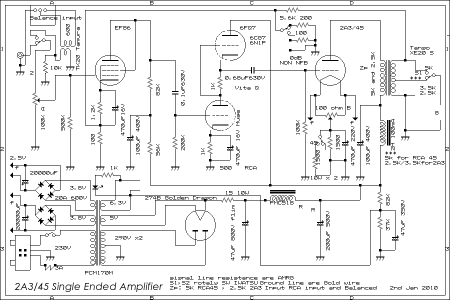 er300b from 2a3 single ended amplifier