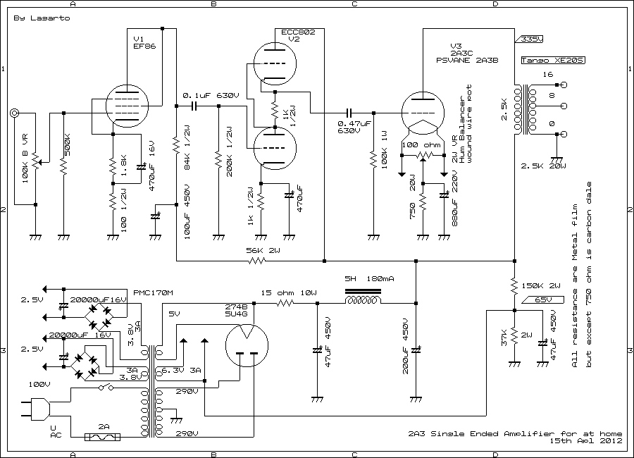 2a3 Single Ended Triode Set Tube Amplifier Schematic