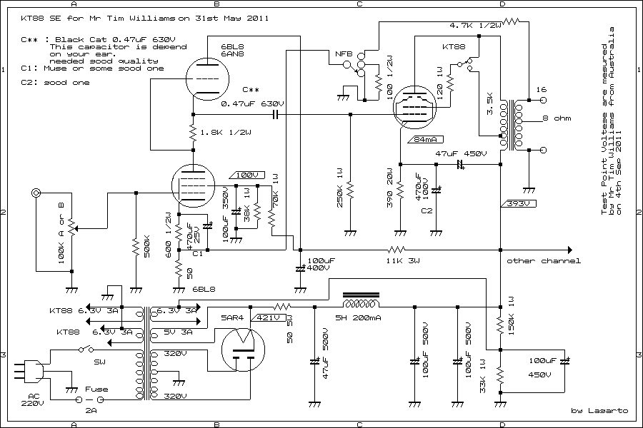 kt and a/b single ended amplifier d.i.y by tim williams, schematic