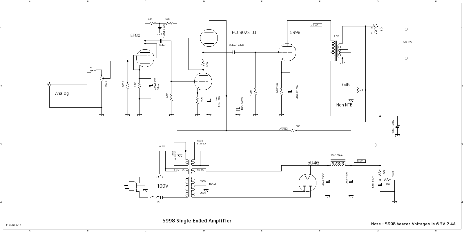5998SE on vacuum tube amplifier schematics