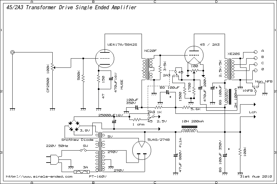 45/2A3 Single-ended amplifier