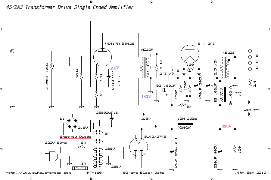 2A3 417A Trans Drive on tube amp schematics